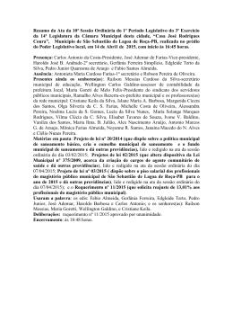 Resumo da Ata da 10ª Sessão Ordinária do 1º Período Legislativo