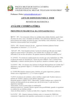 análise combinatória - Colégio Policial Militar Feliciano Nunes Pires