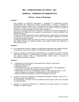 MEC – EXAME NACIONAL DE CURSOS – 2001 FARMÁCIA