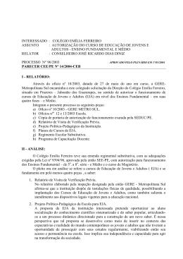 parecer cee/pe nº 14/2004-ceb - Conselho Estadual de Educação