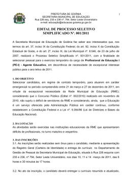 Edital 001/2011 - Prefeitura de Goiânia
