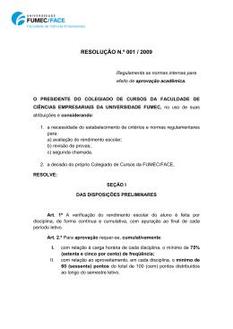 RESOLUÇÃO N.º 001 / 2009