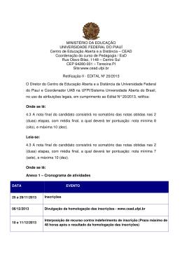 Confira a Retificação - Universidade Aberta do Piauí