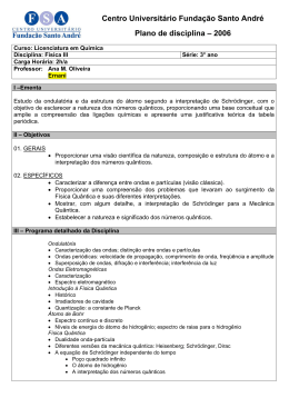 Centro Universitário Fundação Santo André Plano de disciplina
