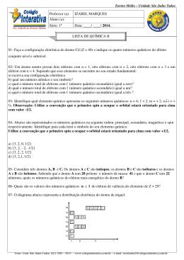 01- Faça a configuração eletrônica do átomo Cd (Z = 48) e indique