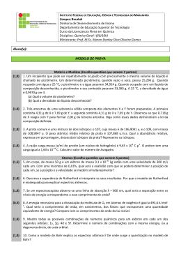 Aluno(a): MODELO DE PROVA