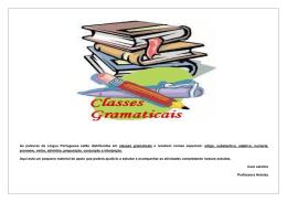 As palavras da Língua Portuguesa estão distribuídas em classes