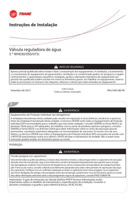 Instruções de Instalação Válvula reguladora de água