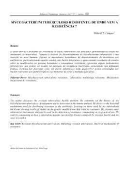MYCOBACTERIUM TUBERCULOSIS RESISTENTE: DE ONDE
