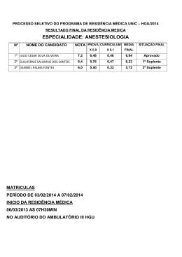 RESULTADO FINAL 2014 RESIDENCIA
