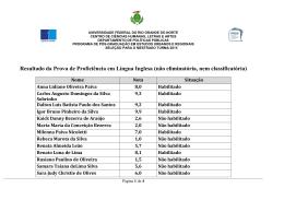Resultado da Prova de Proficiência em Língua