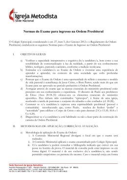Normas do Exame para ingresso na Ordem Presbiteral