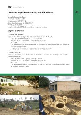 Obras de esgotamento sanitário em Pilar/AL