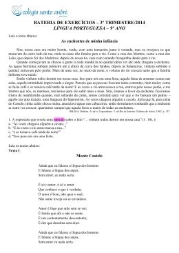 bateria de exercícios – 3º trimestre/2014 língua portuguesa – 9º ano