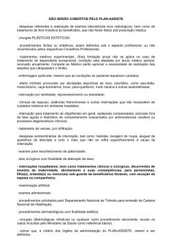 NÃO SERÃO COBERTOS PELO PLAN