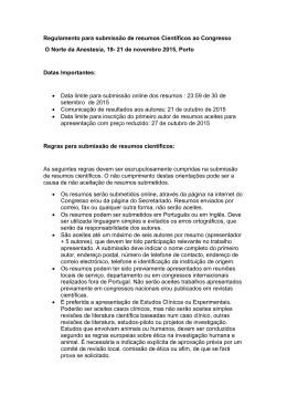 Regulamento para submissão de resumos Científicos ao Congresso