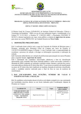 edital nº 042/2015 – seleção de supervisor de cursos – nova união