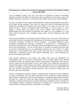 ano de 2003/2004 - Escola de Economia e Gestão