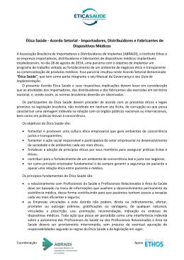 Ética Saúde - Acordo Setorial - Importadores, Distribuidores e