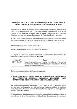 """mercosul / sgt nº 11 """"saúde"""" / comisssão de produtos para a"""
