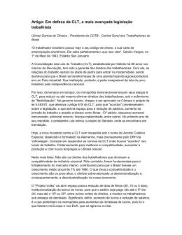 Artigo: Em defesa da CLT, a mais avançada legislação