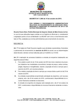 MUNICÍPIO DE ITAQUIRAÍ - Prefeitura Municipal de Itaquiraí