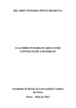 o acordo interbancário como contrato de consórcio