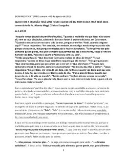 DOMINGO XVIII TEMPO comum – 02 de agosto de 2015