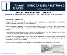 TJ-GO DIÁRIO DA JUSTIÇA ELETRÔNICO - EDIÇÃO 1261