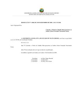 Resolução - Assembleia Legislativa do Estado de Mato Grosso