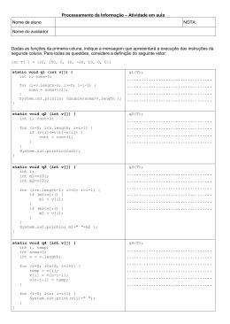 Processamento da Informação – Atividade em aula Nome de aluno