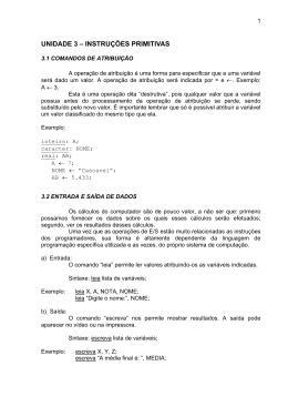 UNIDADE 3 – INSTRUÇÕES PRIMITIVAS