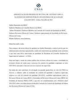 Intervenção do Presidente do CNSA, António Varela, na Sessão do