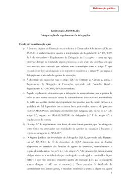 Interpretação do regulamento de delegações