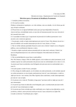 Diretrizes para a Permissão de Residência Permanente