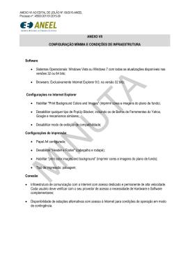 ANEXO VII CONFIGURAÇÃO MÍNIMA E CONDIÇÕES DE
