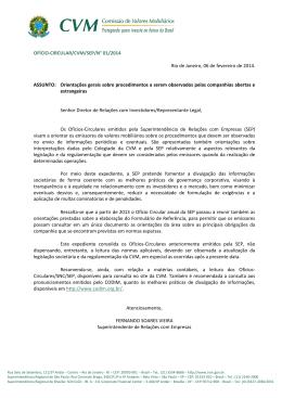OFÍCIO-CIRCULAR/CVM/SEP/N° 01/2014 Rio de Janeiro