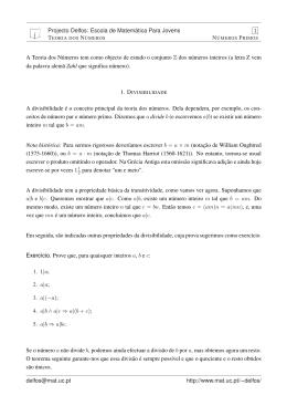 Projecto Delfos: Escola de Matemática Para Jovens 1 A Teoria dos
