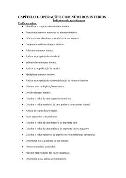 CAPÍTULO 1- OPERAÇÕES COM NÚMEROS INTEIROS