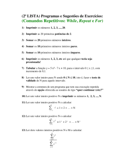 (Comandos Repetitivos: While, Repeat e For) ∑ ∑ ∑