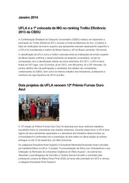 Janeiro 2014 UFLA é a 1ª colocada de MG no ranking Troféu