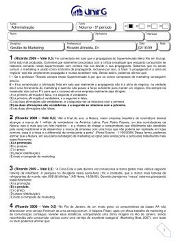 1 Administração Noturno - 5º período Gestão de Marketing Ricardo