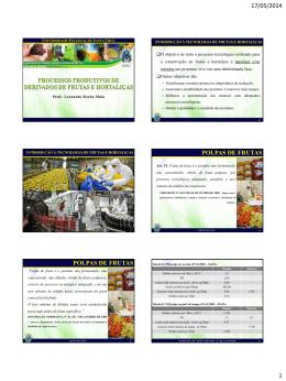 Processos produtivos de derivados de frutas e hortaliças