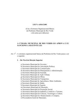 LEI N. 4.016/2.001 (Cria a Estrutura Organizacional Básica da