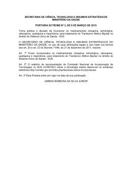 Portaria nº 3, de 09/03/2015, do Ministério da Saúde