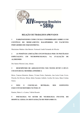 RELAÇÃO DE TRABALHOS APROVADOS