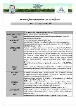 CRONOGRAMA_DE_ESTUDOS 5º ano AR - Marista Centro