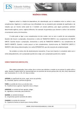 PORTUGUÊS - Regência Verbal