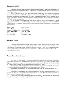 Regência nominal Regência Verbal Verbos Transitivos Diretos