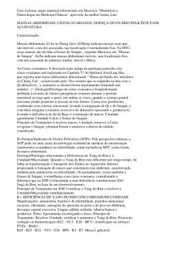 Cistos Ovarianos, Doença do Ovário Policístico em Acupuntura